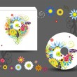 Envelope and cd cover, floral style for your design — 图库矢量图片