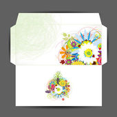 Envelope, floral style for your design — Stock Vector