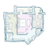 Sketch of design interior apartment, hand drawn vector illustration — Stock Vector