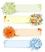 Vier seizoenen - lente, zomer, herfst, winter. banners met plaats voor uw — Stockvector