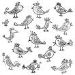 Set of funny birds for your design — Imagens vectoriais em stock