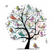 Funny tree with singing birds for your design — Imagens vectoriais em stock