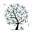 Funny tree with singing birds for your design — Векторная иллюстрация