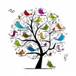 Funny tree with singing birds for your design — Imagen vectorial