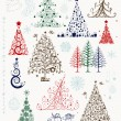 Set of christmas trees and decorations for your design — Stockvektor