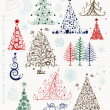 Set of christmas trees and decorations for your design — Stock Vector