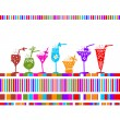 Stock Vector: Set of glasses with cocktails for your design