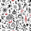 Halloween hand drawn pattern for your design - Stok Vektr