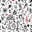 Halloween hand drawn pattern for your design - Stok Vektör