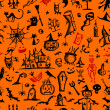 Halloween hand drawn pattern for your design — ベクター素材ストック