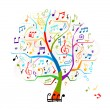 Abstract musical tree for your design — Stock Vector
