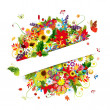 Gift card design with floral bouquet, four seasons — Stock Vector #13174107