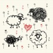 Funny sheeps on meadow, sketch for your design — Stock Vector #13174140