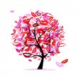 Tree of kisses with lips and smiles for your design — Stock Vector