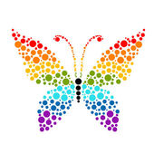 Dots in shape of butterfly, rainbow colors for your design — Stock Vector