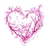 Sakura ağacı tasarımınız için yapılan kalp şekli — Stok Vektör