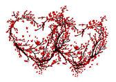 从樱花树为您的设计所作的两颗心 — 图库矢量图片