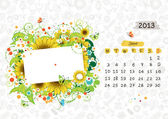 Vector calendar 2013, june. Frame with place for your text or photo — Stock Vector