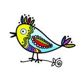 Dibujo de pájaro colorido divertido para su diseño — Vector de stock
