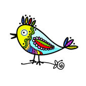 Sketch of funny colorful bird for your design — Vettoriale Stock