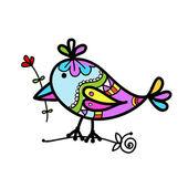 Desenho de pássaro colorido engraçado para seu projeto — Vetorial Stock
