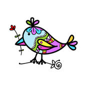 Sketch of funny colorful bird for your design — Cтоковый вектор