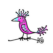 Sketch of funny colorful bird for your design — Vecteur