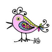 Szkic śmieszne kolorowy ptak do projektowania — Wektor stockowy