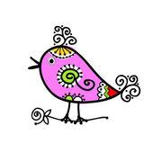 Schizzo di buffo uccello colorato per il vostro disegno — Vettoriale Stock