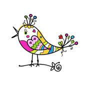 あなたのデザインの面白いカラフルな鳥のスケッチ — ストックベクタ
