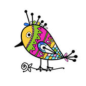 Schets van grappige kleurrijke vogels voor uw ontwerp — Stockvector