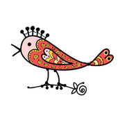 Sketch of funny colorful bird for your design — Stok Vektör