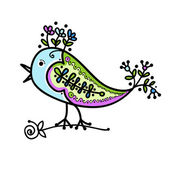 Sketch of funny colorful bird for your design — ストックベクタ