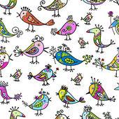 Roliga färgglada fåglar, sömlösa mönster för din design — Stockvektor