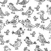 Divertidos pájaros, patrones sin fisuras para su diseño — Vector de stock