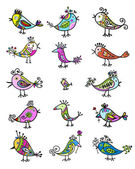 Set of funny colorful birds for your design — 图库矢量图片