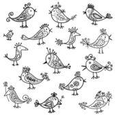 Komik kuşlar için tasarım kümesi — Stok Vektör