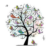 Funny tree with singing birds for your design — Vector de stock