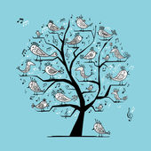 Funny tree with singing birds for your design — Stock Vector