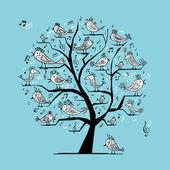 şarkı söyleyen kuşlar tasarımınız için komik ağaç — Stok Vektör