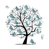 Roligt träd med sjungande fåglar för din design — Stockvektor