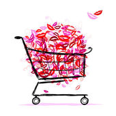 Shopping basket with lips for your design — Stock Vector