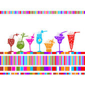 Set of glasses with cocktails for your design — Stock Vector