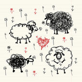 Funny sheeps on meadow, sketch for your design — Stock Vector