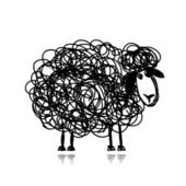 Funny black sheep, sketch for your design — Stock Vector