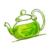 Teapot sketch with green tea for your design — Stock Vector