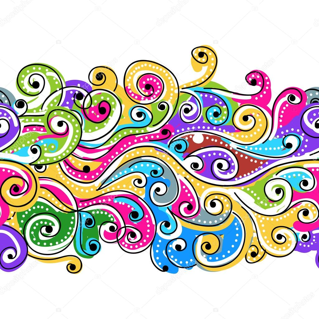 seamless wave hand drawn pattern for your design abstract