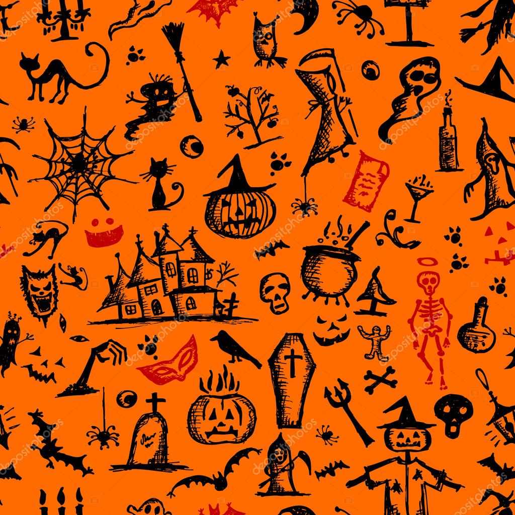 Halloween hand drawn pattern for your design — Stock Vector #13174071