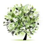 Floral tree beautiful — Vecteur #1356542