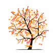 Abstract tree with ribbons for your design - 